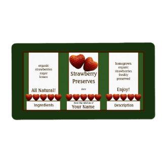 Cotos de fresa que conservan la etiqueta del tarro etiqueta de envío