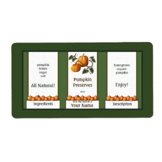 Cotos de la calabaza que conservan la etiqueta 3 etiqueta de envío