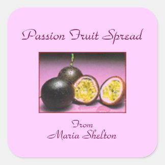 Cotos de la fruta de la pasión que conservan pegatina cuadrada