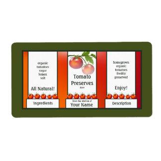 Cotos del tomate que conservan la etiqueta etiqueta de envío