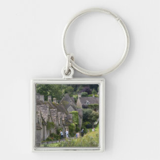 Cotswold stone cottages in the village of Silver-Colored square keychain