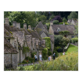 Cotswold stone cottages in the village of print