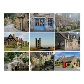 Cotswolds collage postcard