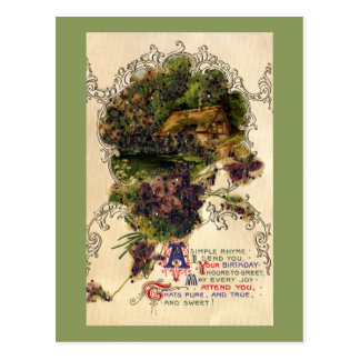 Cottage and Violets Vintage Birthday Postcard