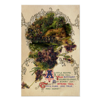 Cottage and Violets Vintage Birthday Posters