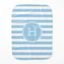 Cottage Blue and White Stripe Monogram Baby Burp Cloth