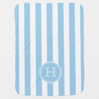 Cottage Blue and White Stripe Monogram Swaddle Blanket