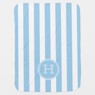 Cottage Blue and White Stripe Monogram Swaddle Blanket