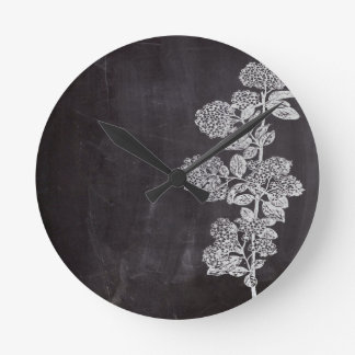 Cottage Chic french country chalkboard botanical Round Clock