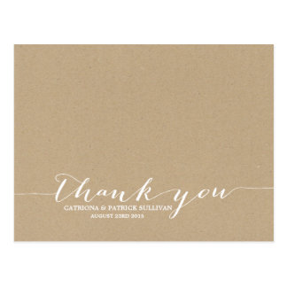 Cottage Chic Handwritten Script Thank You Postcard