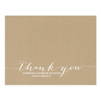 Cottage Chic Handwritten Script Thank You Postcard