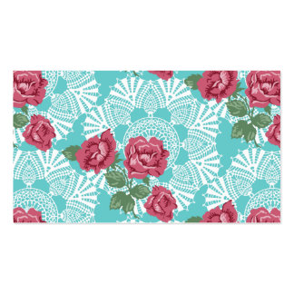 Cottage Chic Lace & Roses Garden Business Card
