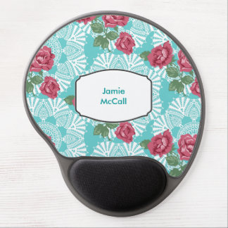 Cottage Chic Lace & Roses Garden Gel Mouse Pad