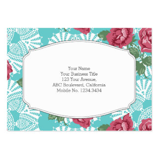 Cottage Chic Lace & Roses Garden Large Business Card