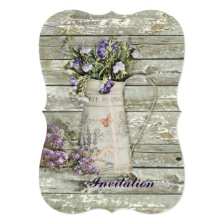 cottage chic lavender rustic barn wood card