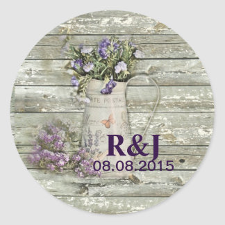 cottage chic lavender rustic barn wood classic round sticker