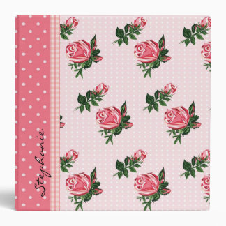 Cottage Chic Pink Roses & Polka Dots Wedding Binder
