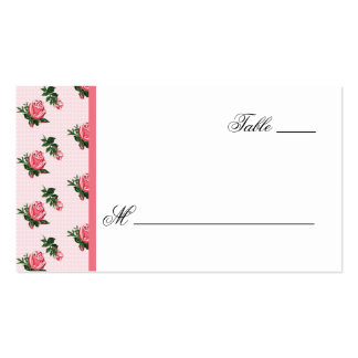 Cottage Chic Pink Roses Wedding Escort Card Business Card