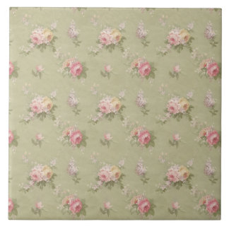 Cottage Chic Roses Ceramic Tile