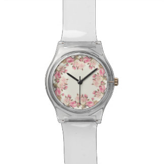 Cottage chic roses floral watch