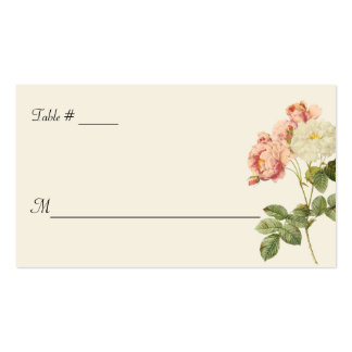 Cottage Chic Roses Wedding Escort Card Double-Sided Standard Business Cards (Pack Of 100)