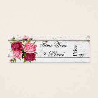 Cottage Chic Rustic Wood and Peonies Business Tag