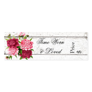 Cottage Chic Rustic Wood and Peonies Business Tag Double-Sided Mini Business Cards (Pack Of 20)