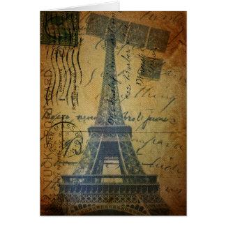 Cottage Chic Scripts Vintage Paris Eiffel Tower Card