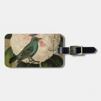 Cottage Chic Vintage Bird french botanical art Bag Tag