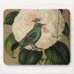Cottage Chic Vintage Bird french botanical art Mouse Pad