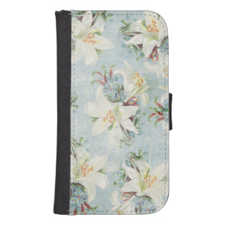 Cottage Chic White Day Lilies Wallet Phone Case For Samsung Galaxy S4