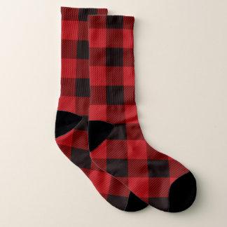 cottage Christmas lumberjack Red buffalo plaid Socks