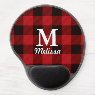 cottage Christmas Red buffalo lumberjack plaid Gel Mouse Pad