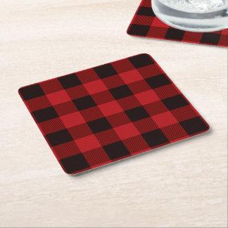 cottage Christmas Red buffalo lumberjack plaid Square Paper Coaster