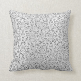 Cottage  Damask Silver Gray Grey Metallic Glitter Throw Pillow