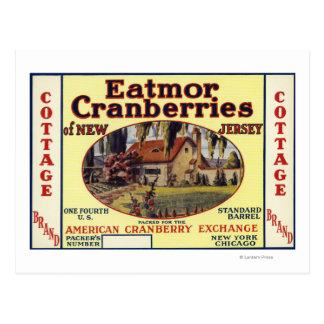 Cottage Eatmor Cranberries Brand Label Postcards