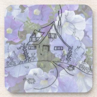 Cottage Embroidery & Petunias Beverage Coaster