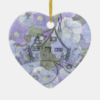 Cottage Embroidery & Petunias Ceramic Ornament