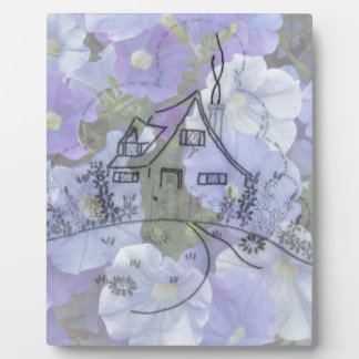 Cottage Embroidery & Petunias Plaque