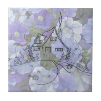 Cottage Embroidery & Petunias Tile