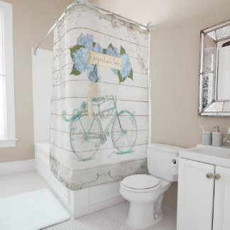 Cottage Farmhouse Shiplap Wood Hydrangea Bicycle Shower Curtain