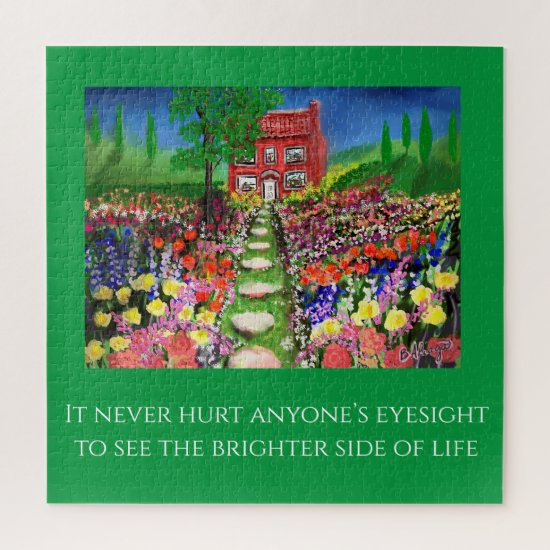 Cottage Flower Garden Quote Template Jigsaw Puzzle