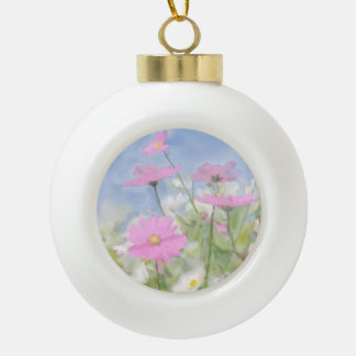 Cottage Garden Watercolor Ceramic Ball Christmas Ornament