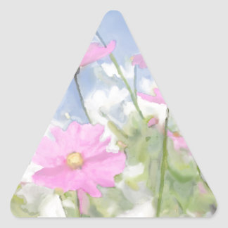 Cottage Garden Watercolor Triangle Sticker