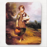 Cottage Girl with Dog Mouse Pads