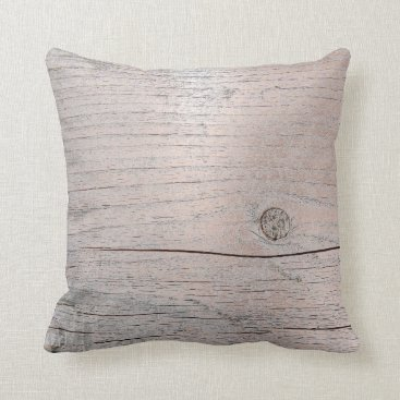 Beach Themed Cottage Grungy House Skinny Pin Gray Metallic Wood Throw Pillow