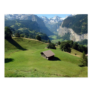 Cottage in beautiful scenic settings in Switzerlan Postcard