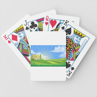 Cottage in rolling hills bicycle playing cards