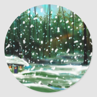 Cottage in the Snow Classic Round Sticker