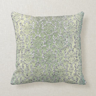 Cottage Mint Green Damask Silver Metallic Glitter Throw Pillow